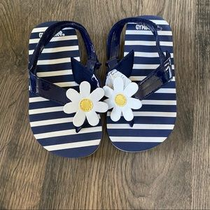 New Gymboree blue and white striped flip flops